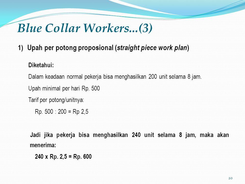 20 Blue Collar Workers...(3) 1) Upah per potong proposional ( straight piece work plan ) Diketahui: Dalam keadaan normal pekerja bisa menghasilkan 200