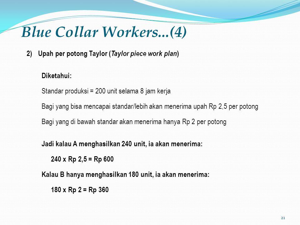21 Blue Collar Workers...(4) 2)Upah per potong Taylor ( Taylor piece work plan ) Diketahui: Standar produksi = 200 unit selama 8 jam kerja Bagi yang b