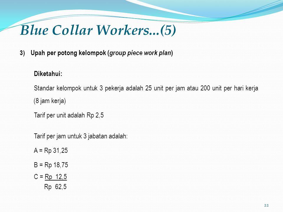 22 Blue Collar Workers...(5) 3) Upah per potong kelompok ( group piece work plan ) Diketahui: Standar kelompok untuk 3 pekerja adalah 25 unit per jam