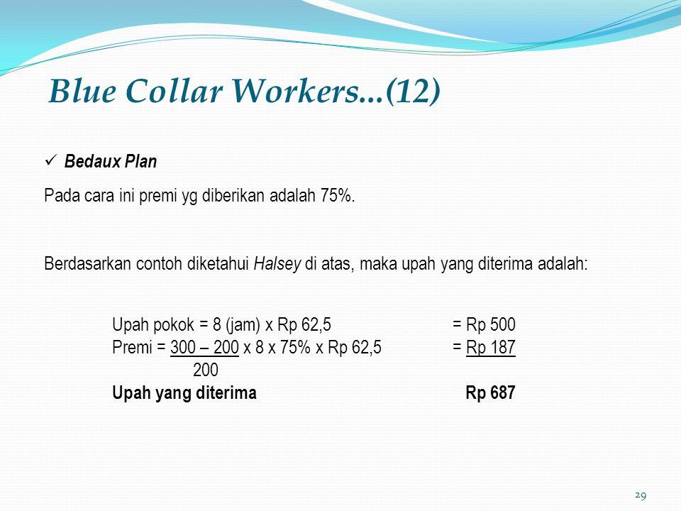 29 Blue Collar Workers...(12) Bedaux Plan Pada cara ini premi yg diberikan adalah 75%. Berdasarkan contoh diketahui Halsey di atas, maka upah yang dit