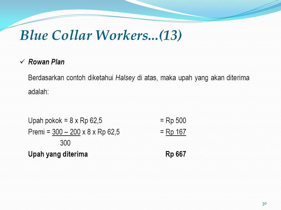 30 Blue Collar Workers...(13) Rowan Plan Berdasarkan contoh diketahui Halsey di atas, maka upah yang akan diterima adalah: Upah pokok = 8 x Rp 62,5= Rp 500 Premi = 300 – 200 x 8 x Rp 62,5= Rp 167 300 Upah yang diterima Rp 667