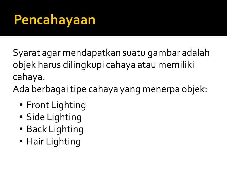 Syarat agar mendapatkan suatu gambar adalah objek harus dilingkupi cahaya atau memiliki cahaya. Ada berbagai tipe cahaya yang menerpa objek: Front Lig