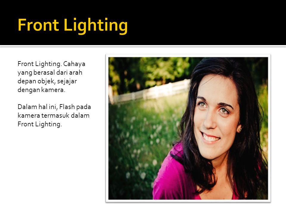 Front Lighting. Cahaya yang berasal dari arah depan objek, sejajar dengan kamera. Dalam hal ini, Flash pada kamera termasuk dalam Front Lighting.