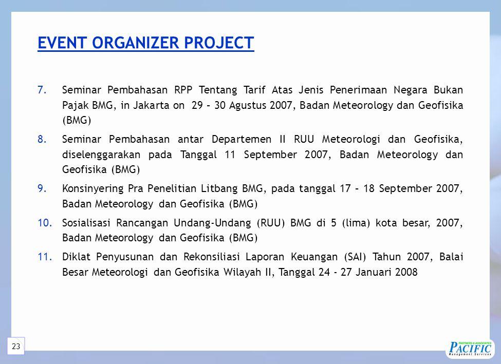 23 7.Seminar Pembahasan RPP Tentang Tarif Atas Jenis Penerimaan Negara Bukan Pajak BMG, in Jakarta on 29 – 30 Agustus 2007, Badan Meteorology dan Geofisika (BMG) 8.Seminar Pembahasan antar Departemen II RUU Meteorologi dan Geofisika, diselenggarakan pada Tanggal 11 September 2007, Badan Meteorology dan Geofisika (BMG) 9.Konsinyering Pra Penelitian Litbang BMG, pada tanggal 17 – 18 September 2007, Badan Meteorology dan Geofisika (BMG) 10.Sosialisasi Rancangan Undang-Undang (RUU) BMG di 5 (lima) kota besar, 2007, Badan Meteorology dan Geofisika (BMG) 11.Diklat Penyusunan dan Rekonsiliasi Laporan Keuangan (SAI) Tahun 2007, Balai Besar Meteorologi dan Geofisika Wilayah II, Tanggal 24 - 27 Januari 2008 EVENT ORGANIZER PROJECT