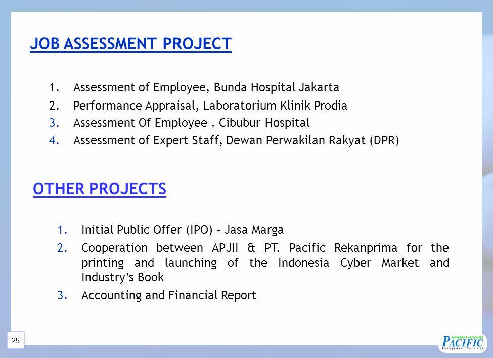 25 1.Assessment of Employee, Bunda Hospital Jakarta 2.Performance Appraisal, Laboratorium Klinik Prodia 3.Assessment Of Employee, Cibubur Hospital 4.A
