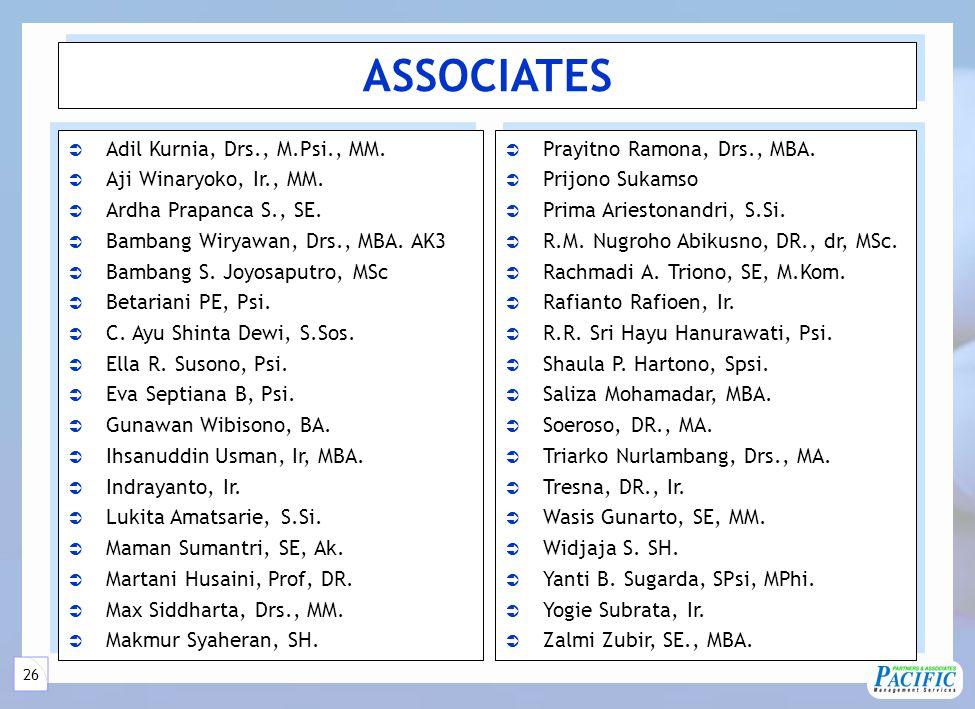 26 ASSOCIATES  Adil Kurnia, Drs., M.Psi., MM.  Aji Winaryoko, Ir., MM.  Ardha Prapanca S., SE.  Bambang Wiryawan, Drs., MBA. AK3  Bambang S. Joyo