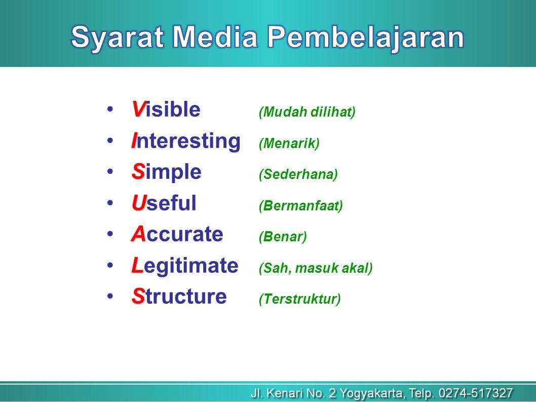 V Visible (Mudah dilihat) I Interesting (Menarik) S Simple (Sederhana) U Useful (Bermanfaat) A Accurate (Benar) L Legitimate (Sah, masuk akal) S Structure (Terstruktur)