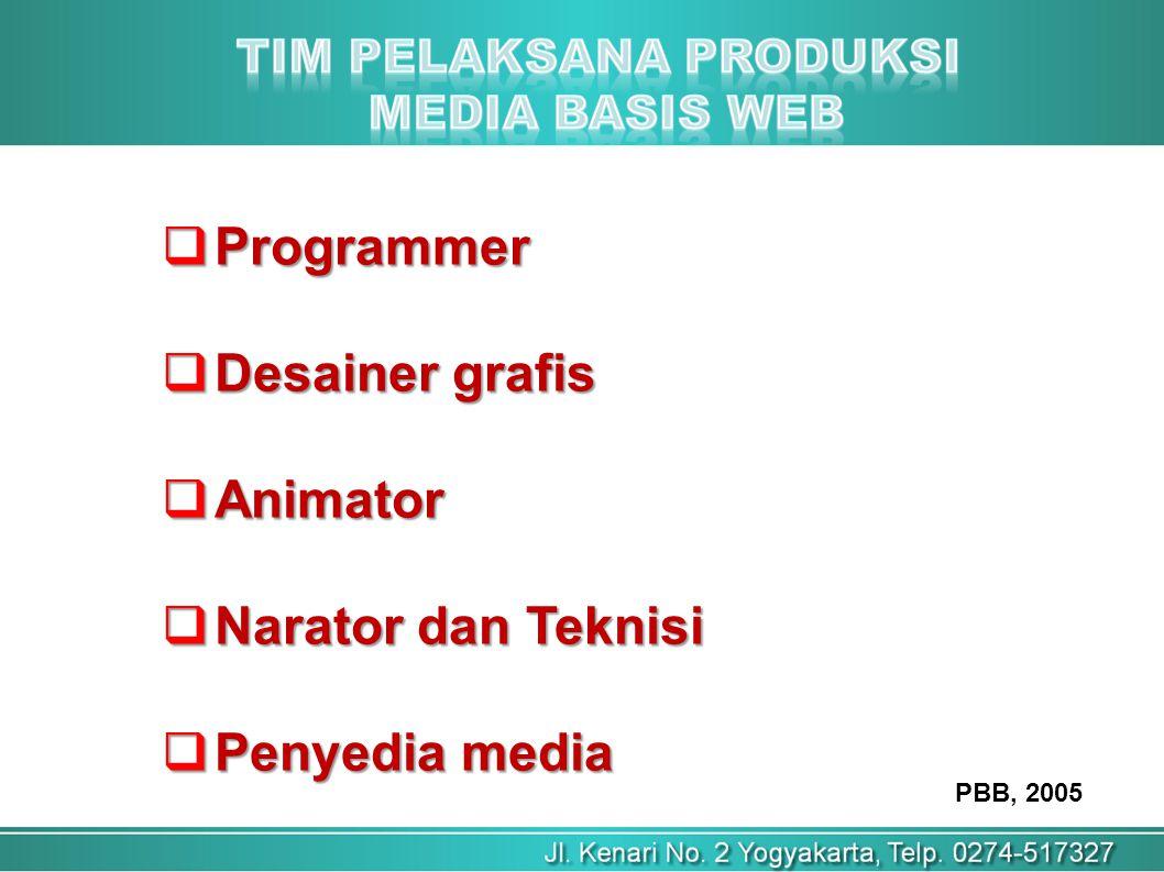 PBB, 2005  Programmer  Desainer grafis  Animator  Narator dan Teknisi  Penyedia media