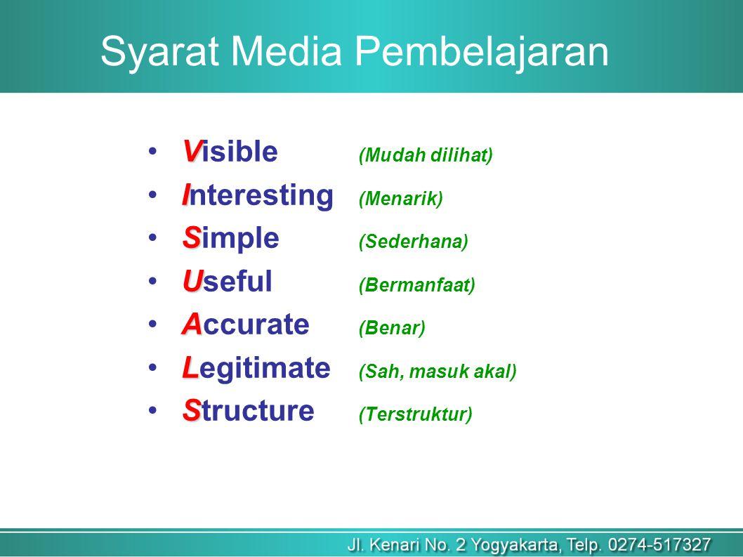 Syarat Media Pembelajaran V Visible (Mudah dilihat) I Interesting (Menarik) S Simple (Sederhana) U Useful (Bermanfaat) A Accurate (Benar) L Legitimate (Sah, masuk akal) S Structure (Terstruktur)