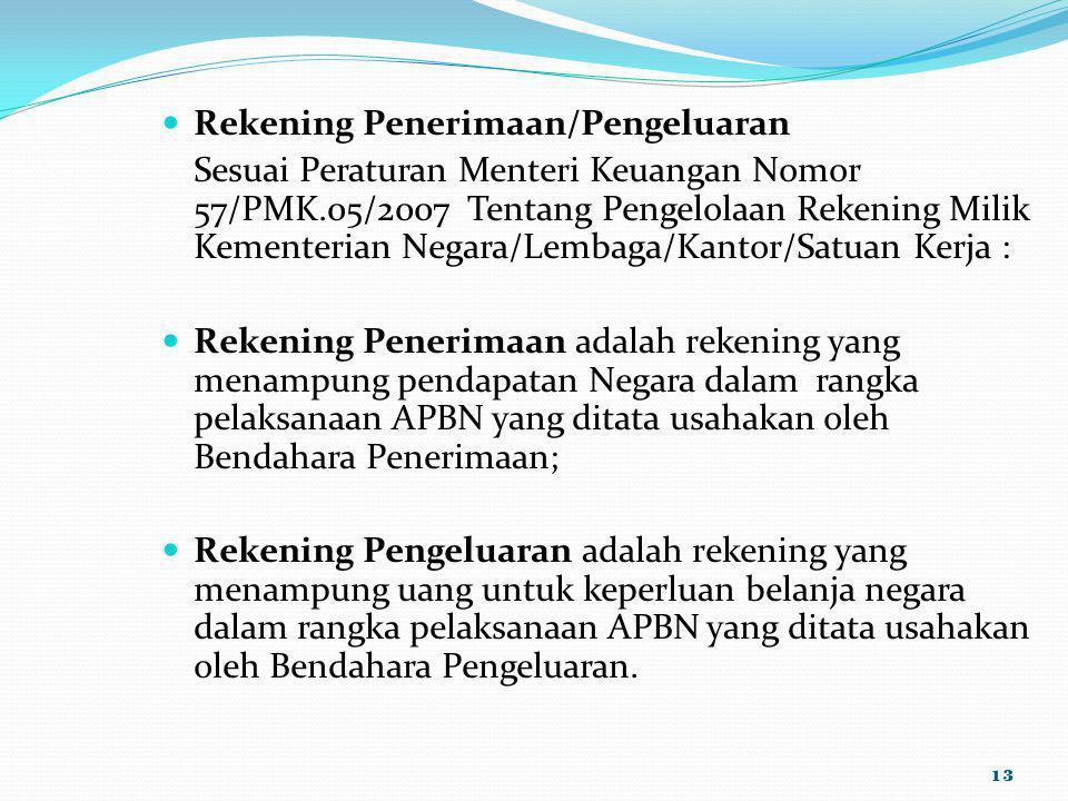 Rekening Penerimaan/Pengeluaran Sesuai Peraturan Menteri Keuangan Nomor 57/PMK.05/2007 Tentang Pengelolaan Rekening Milik Kementerian Negara/Lembaga/K