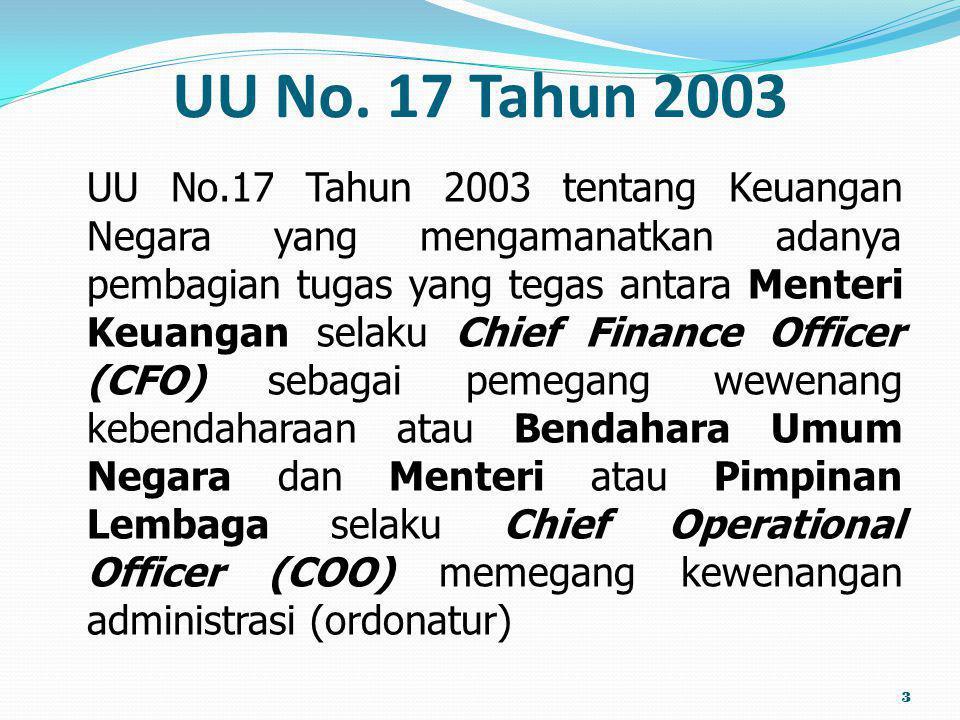 UU No. 17 Tahun 2003 UU No.17 Tahun 2003 tentang Keuangan Negara yang mengamanatkan adanya pembagian tugas yang tegas antara Menteri Keuangan selaku C