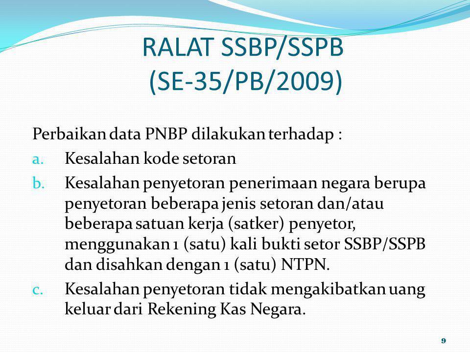 RALAT SSBP/SSPB (SE-35/PB/2009) Perbaikan data PNBP dilakukan terhadap : a. Kesalahan kode setoran b. Kesalahan penyetoran penerimaan negara berupa pe