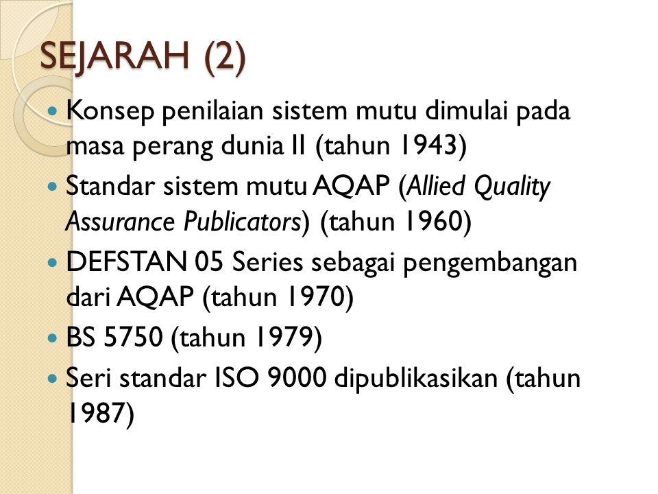 SEJARAH (2) Konsep penilaian sistem mutu dimulai pada masa perang dunia II (tahun 1943) Standar sistem mutu AQAP (Allied Quality Assurance Publicators