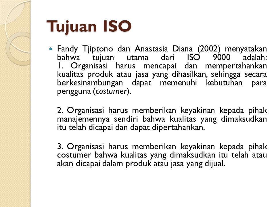 Tujuan ISO Fandy Tjiptono dan Anastasia Diana (2002) menyatakan bahwa tujuan utama dari ISO 9000 adalah: 1. Organisasi harus mencapai dan mempertahank