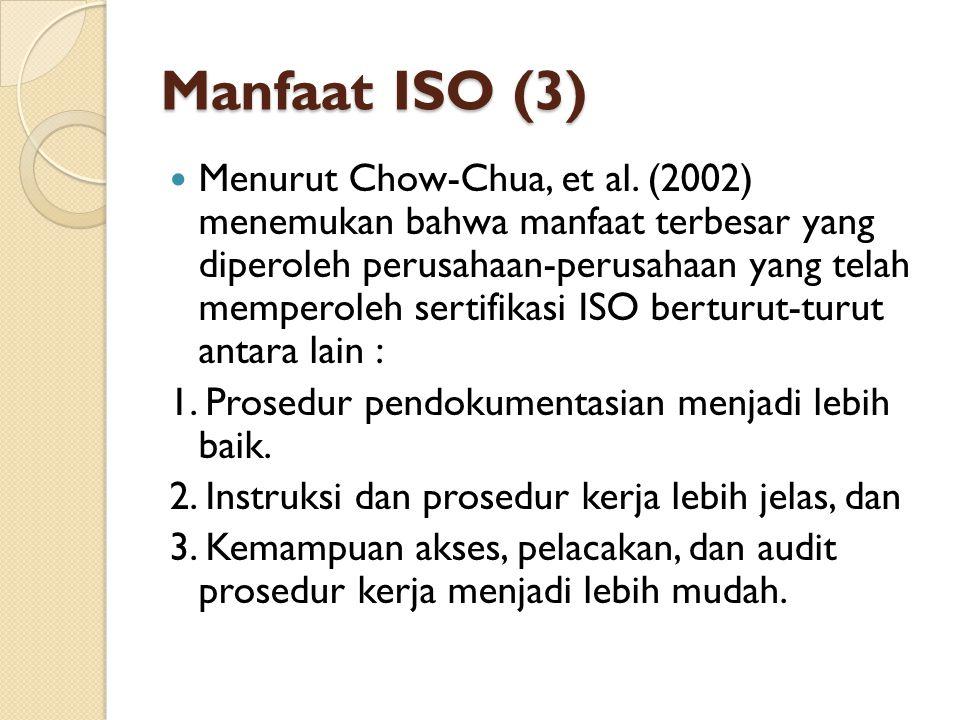 Manfaat ISO (3) Menurut Chow-Chua, et al. (2002) menemukan bahwa manfaat terbesar yang diperoleh perusahaan-perusahaan yang telah memperoleh sertifika