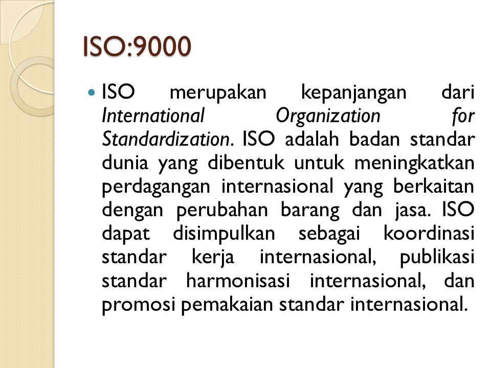 ISO:9000 ISO merupakan kepanjangan dari International Organization for Standardization. ISO adalah badan standar dunia yang dibentuk untuk meningkatka