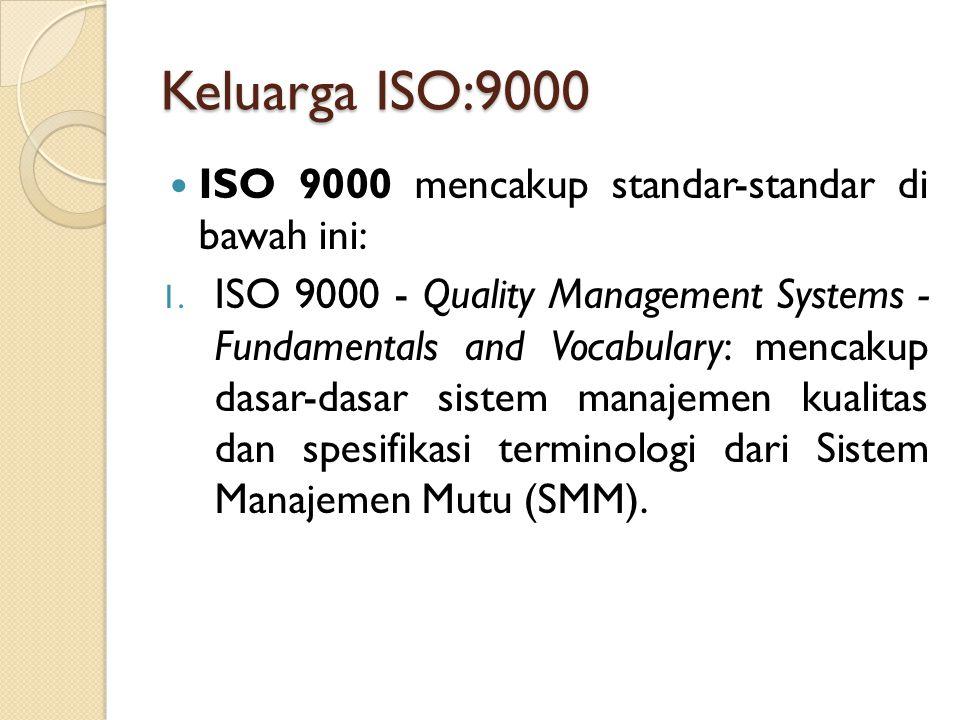 Keluarga ISO:9000 ISO 9000 mencakup standar-standar di bawah ini: 1. ISO 9000 - Quality Management Systems - Fundamentals and Vocabulary: mencakup das
