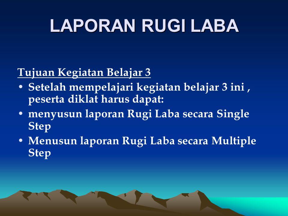 Hakekat laporan rugi laba Laporan Rugi Laba merupakan suatu laporan yang memperlihatkan rugi ataupun laba suatu perusahaan pada periode tahun berjalan.