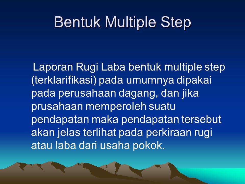 Contoh Multiple step Nama Perusahaan Laporan Rugi / Laba Tgl………………….