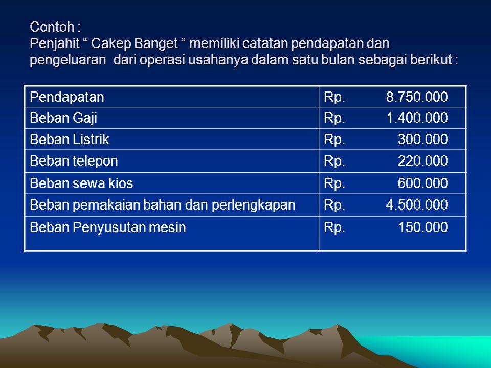 Penjahit Cakep Banget : LAPORAN ARUS KAS Penjahit Cakep Banget : LAPORAN ARUS KAS Kas yang diterima dari pendapatanRp.8.750.000 Kas yang dibayarkan untuk bahan dan perlengkapan Rp.