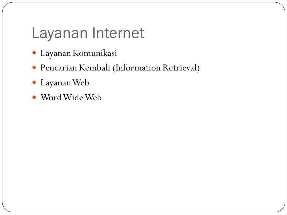 Layanan Internet Layanan Komunikasi Pencarian Kembali (Information Retrieval) Layanan Web Word Wide Web