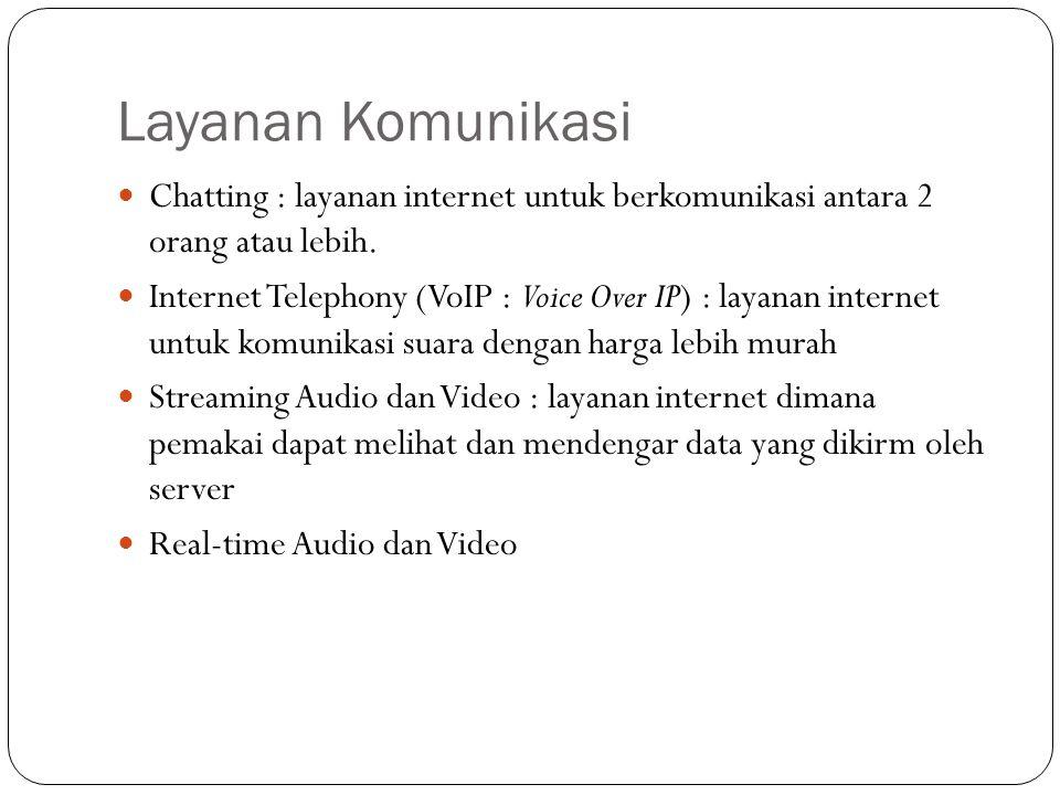 Layanan Komunikasi Chatting : layanan internet untuk berkomunikasi antara 2 orang atau lebih. Internet Telephony (VoIP : Voice Over IP) : layanan inte