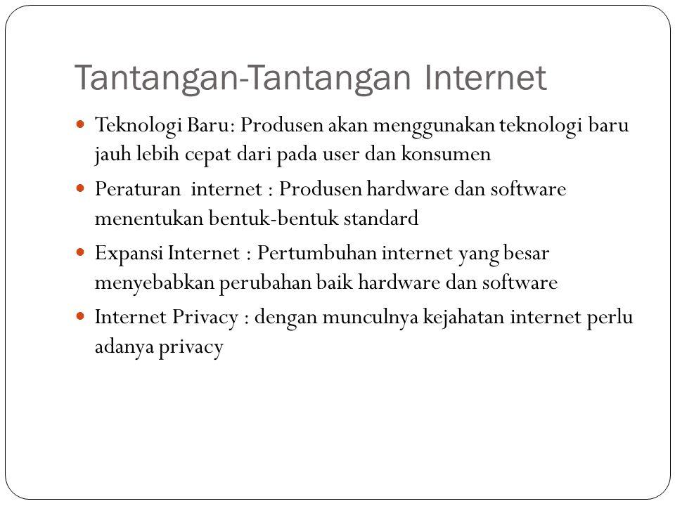 Tantangan-Tantangan Internet Teknologi Baru: Produsen akan menggunakan teknologi baru jauh lebih cepat dari pada user dan konsumen Peraturan internet