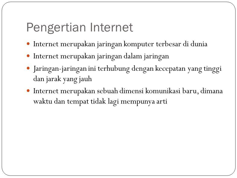 Pengertian Internet Internet merupakan jaringan komputer terbesar di dunia Internet merupakan jaringan dalam jaringan Jaringan-jaringan ini terhubung