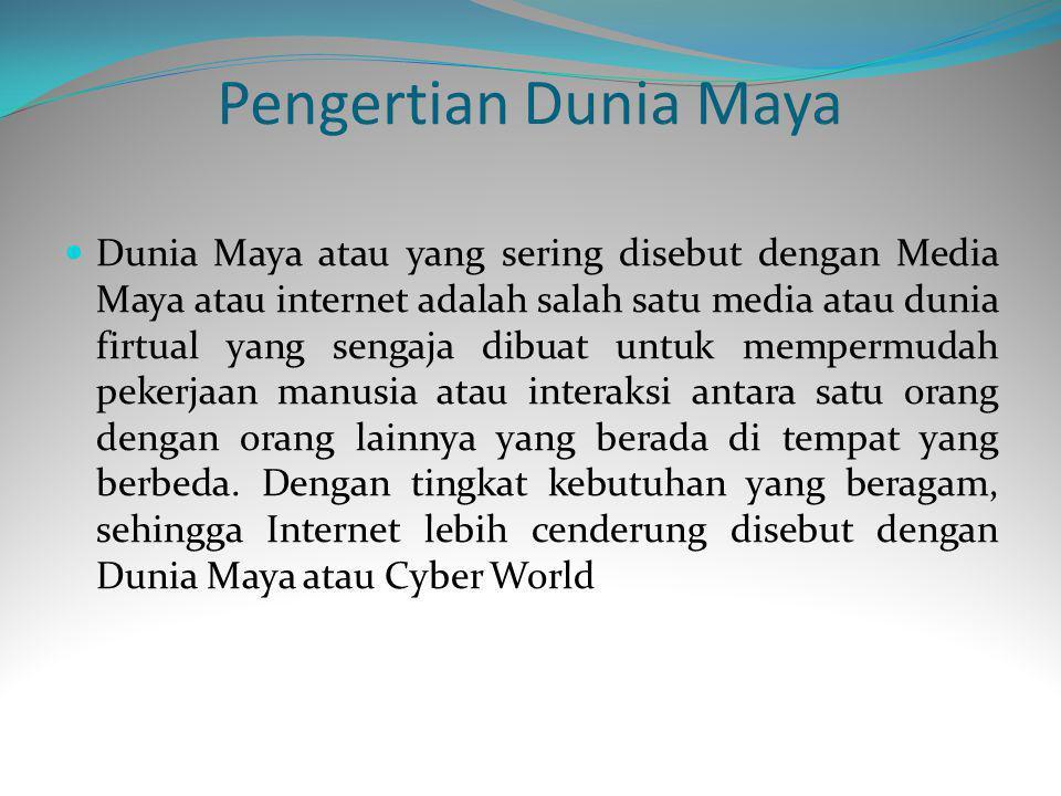 Pengertian Dunia Maya Dunia Maya atau yang sering disebut dengan Media Maya atau internet adalah salah satu media atau dunia firtual yang sengaja dibuat untuk mempermudah pekerjaan manusia atau interaksi antara satu orang dengan orang lainnya yang berada di tempat yang berbeda.
