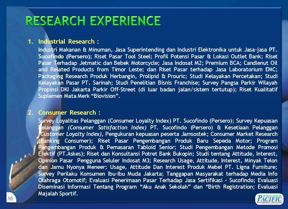 10 1.Industrial Research : Industri Makanan & Minuman, Jasa Superintending dan Industri Elektronika untuk Jasa-jasa PT. Sucofindo (Persero); Riset Pas