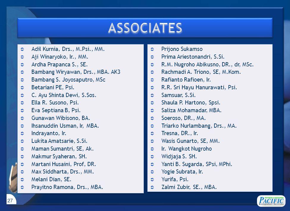 27  Adil Kurnia, Drs., M.Psi., MM.  Aji Winaryoko, Ir., MM.  Ardha Prapanca S., SE.  Bambang Wiryawan, Drs., MBA. AK3  Bambang S. Joyosaputro, MS
