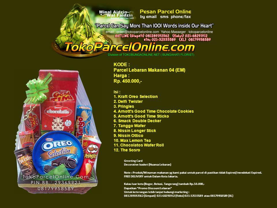KODE : Parcel Lebaran Makanan 04 (EM) Harga : Rp. 450.000,- Isi : 1.