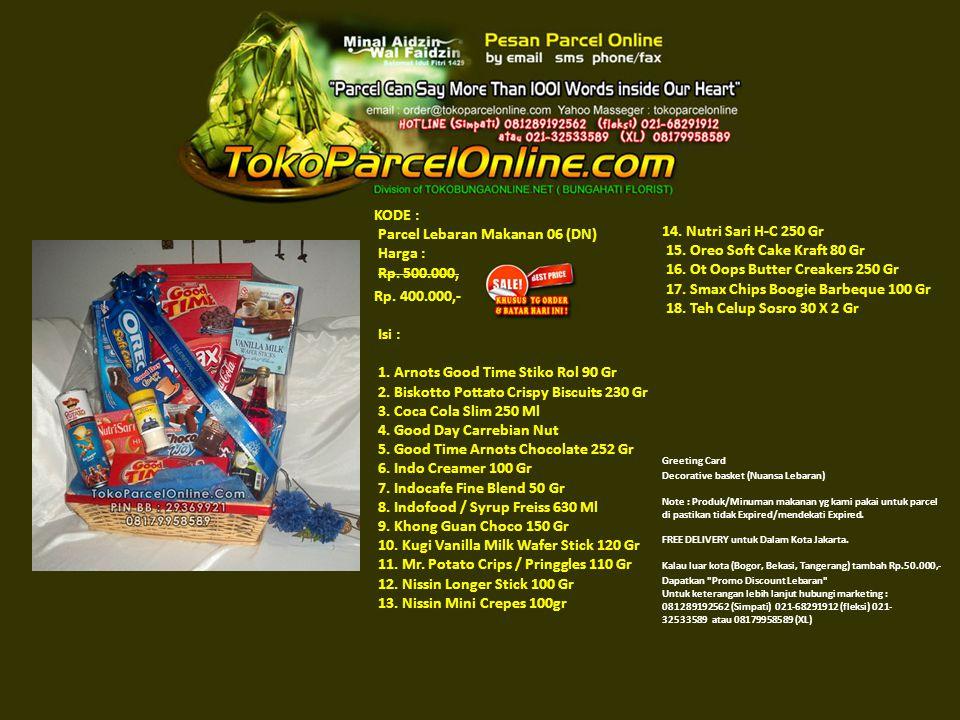 KODE : Parcel Lebaran Makanan 06 (DN) Harga : Rp. 500.000, Rp.