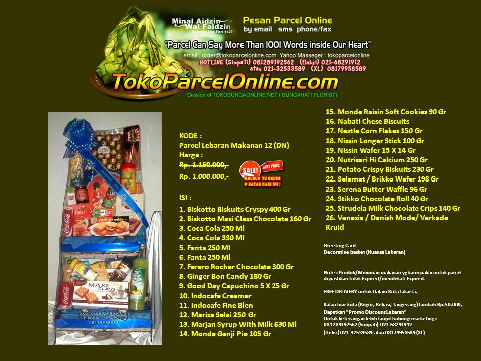 KODE : Parcel Lebaran Makanan 12 (DN) Harga : Rp. 1.150.000,- Rp.