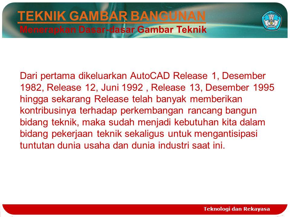Teknologi dan Rekayasa TEKNIK GAMBAR BANGUNAN Menerapkan Dasar-dasar Gambar Teknik Dari pertama dikeluarkan AutoCAD Release 1, Desember 1982, Release