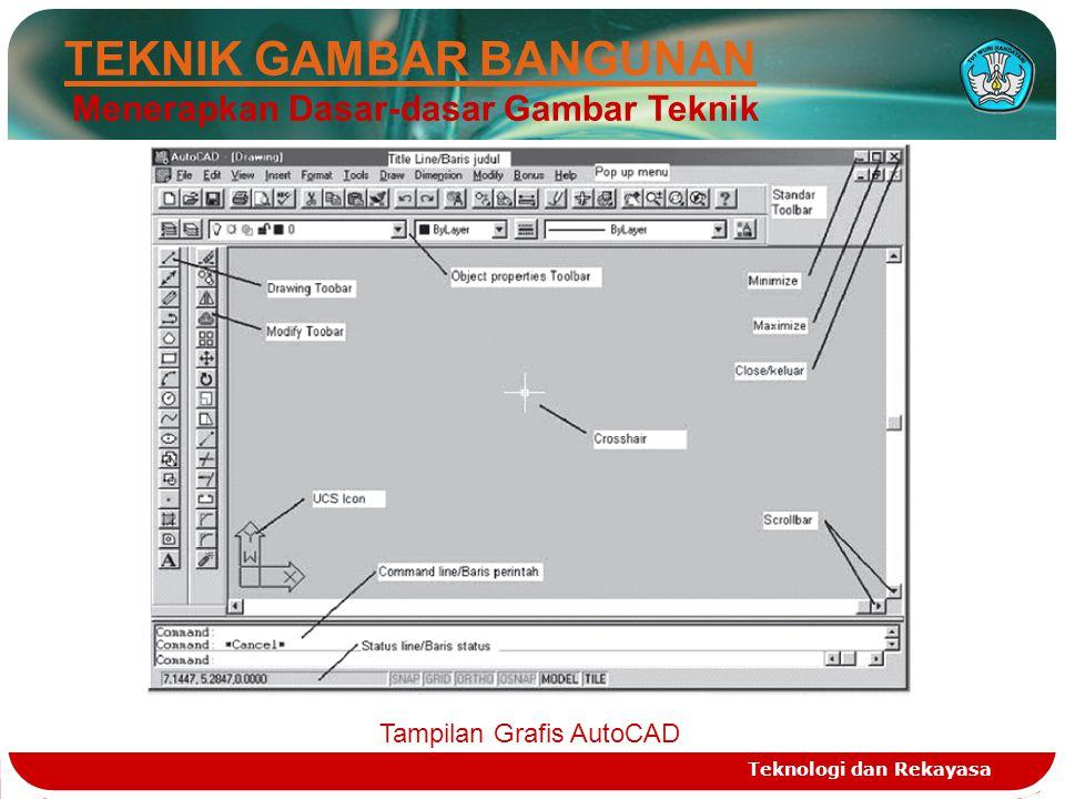 Teknologi dan Rekayasa 2 5 6 TEKNIK GAMBAR BANGUNAN Menerapkan Dasar-dasar Gambar Teknik Tampilan Grafis AutoCAD