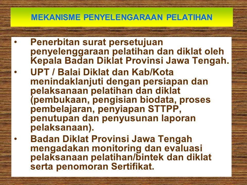 MEKANISME PENYELENGARAAN PELATIHAN Penerbitan surat persetujuan penyelenggaraan pelatihan dan diklat oleh Kepala Badan Diklat Provinsi Jawa Tengah. UP
