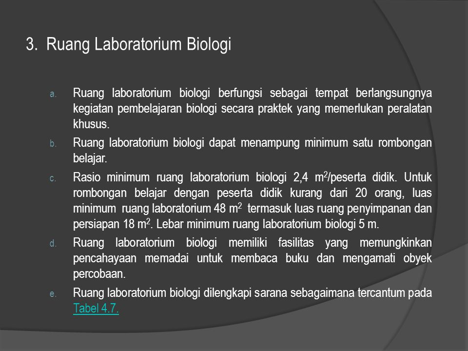 3. Ruang Laboratorium Biologi a. Ruang laboratorium biologi berfungsi sebagai tempat berlangsungnya kegiatan pembelajaran biologi secara praktek yang
