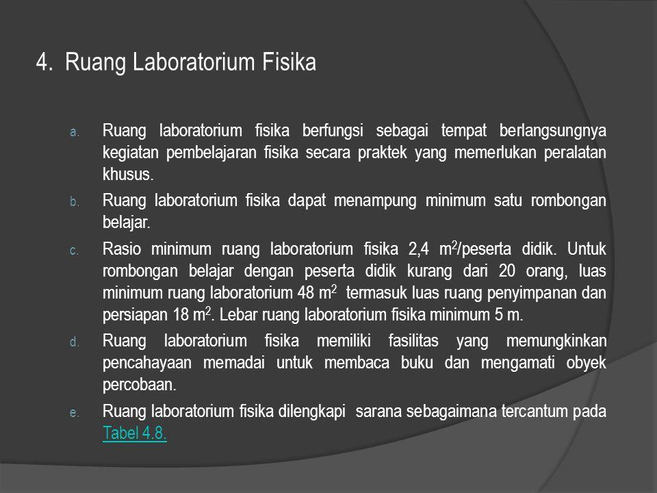 4. Ruang Laboratorium Fisika a. Ruang laboratorium fisika berfungsi sebagai tempat berlangsungnya kegiatan pembelajaran fisika secara praktek yang mem