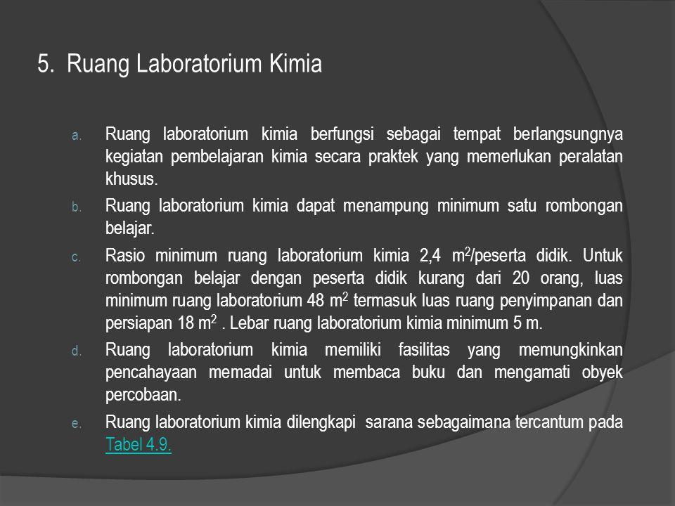 5. Ruang Laboratorium Kimia a. Ruang laboratorium kimia berfungsi sebagai tempat berlangsungnya kegiatan pembelajaran kimia secara praktek yang memerl