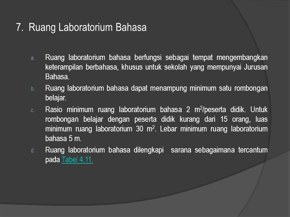7. Ruang Laboratorium Bahasa a. Ruang laboratorium bahasa berfungsi sebagai tempat mengembangkan keterampilan berbahasa, khusus untuk sekolah yang mem