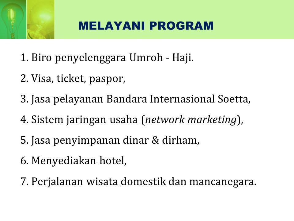 1.Biro penyelenggara Umroh - Haji. 2. Visa, ticket, paspor, 3.