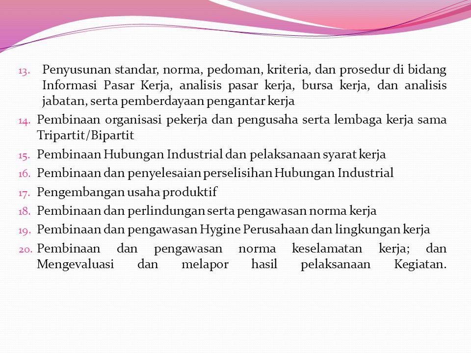 7. Pembinaan terhadap kegiatan Perusahaan Pengerah Tenaga Kerja Indonesia Swasta (PPTKIS) 8. Pemantauan pelaksanaan kerja tenaga kerja asing dan pembe