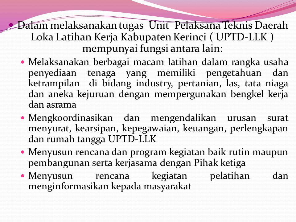 UPTD. LLK ( LOKA LATIHAN KERJA) KABUPATEN KERINC i Unit Pelaksana Teknis Daerah Loka Latihan Kerja Kabupaten Kerinci ( UPTD-LLK ) dibawah Dinas Sosial
