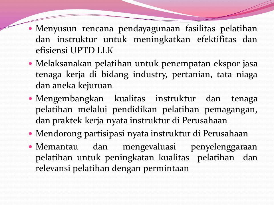 Dalam melaksanakan tugas Unit Pelaksana Teknis Daerah Loka Latihan Kerja Kabupaten Kerinci ( UPTD-LLK ) mempunyai fungsi antara lain: Melaksanakan ber