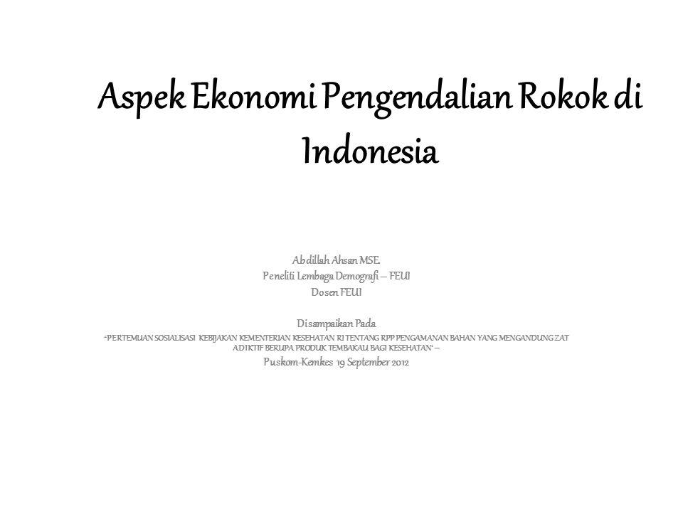 Luas Lahan Tembakau (ha), Indonesia, 2000-2010 menurun 17% (2009-2010 Naik 6%) Sumber : Statistik Perkebunan Indonesia 2010-2012: Tembakau, Kementerian Pertanian.