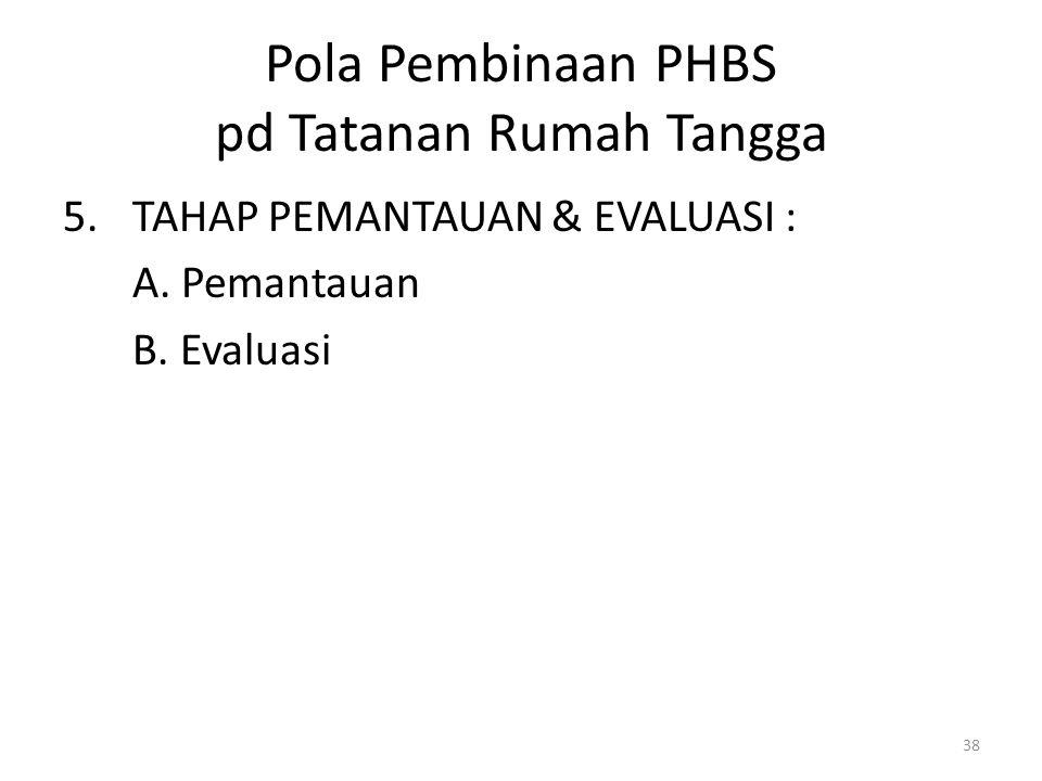 38 Pola Pembinaan PHBS pd Tatanan Rumah Tangga 5.TAHAP PEMANTAUAN & EVALUASI : A.