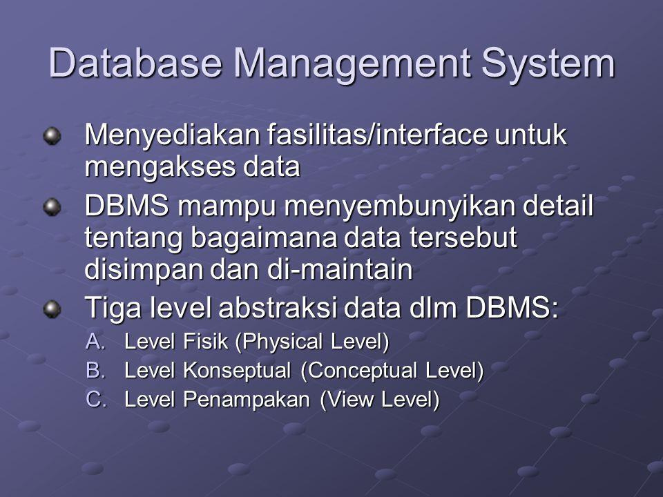 Database Management System Menyediakan fasilitas/interface untuk mengakses data DBMS mampu menyembunyikan detail tentang bagaimana data tersebut disim