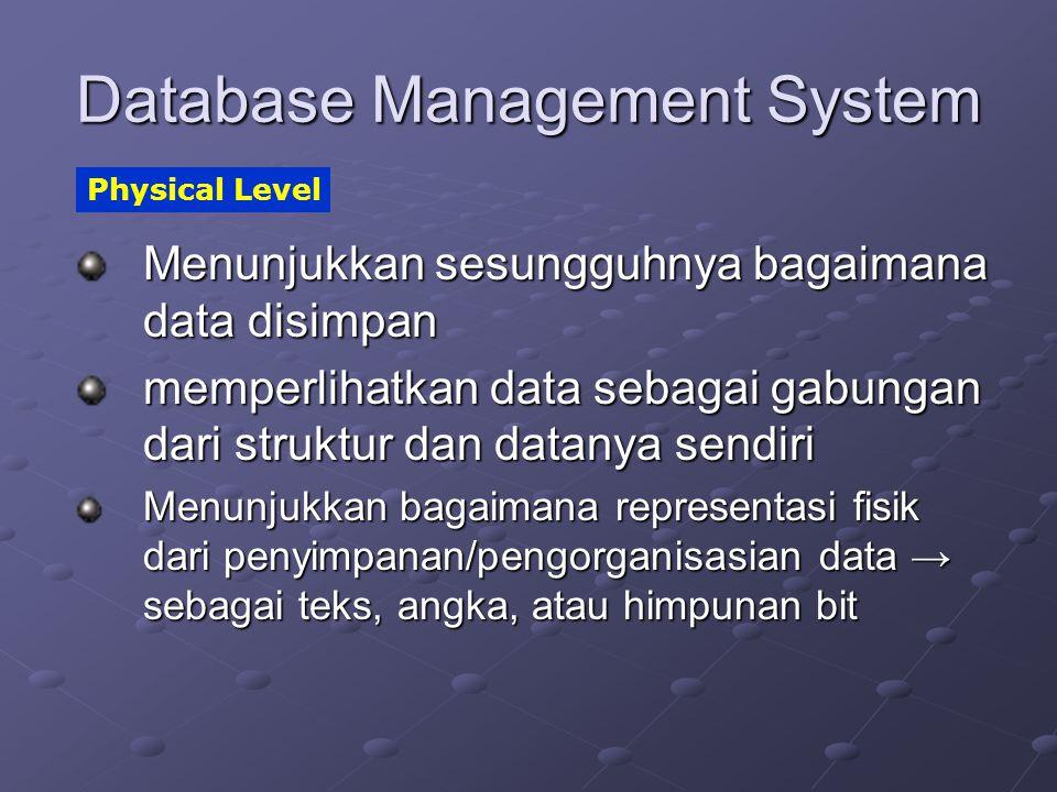 Database Management System Menunjukkan sesungguhnya bagaimana data disimpan memperlihatkan data sebagai gabungan dari struktur dan datanya sendiri Men