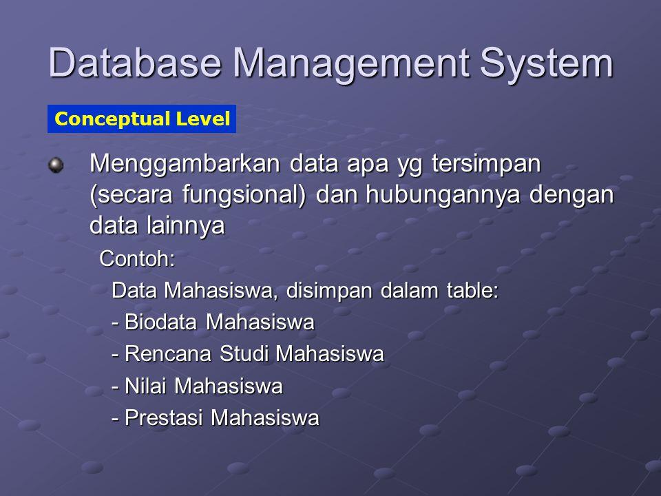 Database Management System Menggambarkan data apa yg tersimpan (secara fungsional) dan hubungannya dengan data lainnya Contoh: Data Mahasiswa, disimpa